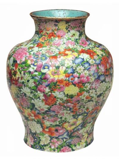 Puzzle vase chinois fleurs